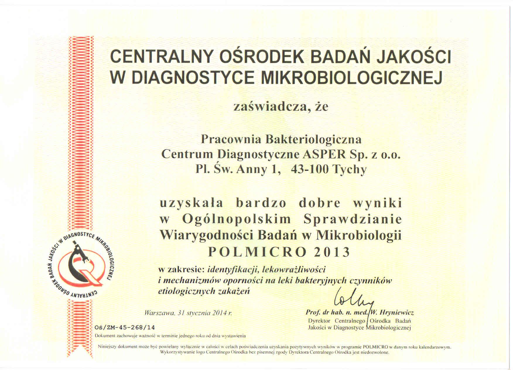 Certyfikat dla laboratorium analitycznego w Tychach